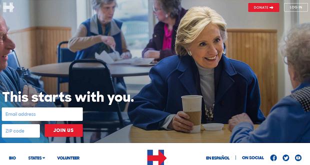 Der Webauftritt der Kampagne von Hillary Clinton. Foto: www.hillaryclinton.com